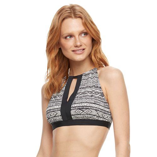 Women's Beach Scene Geometric High-Neck Bikini Top