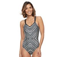 Women's Beach Scene Strappy Geometric One-Piece Swimsuit