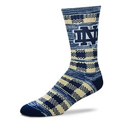 Adult For Bare Feet Notre Dame Fighting Irish Double Plaid Crew Socks