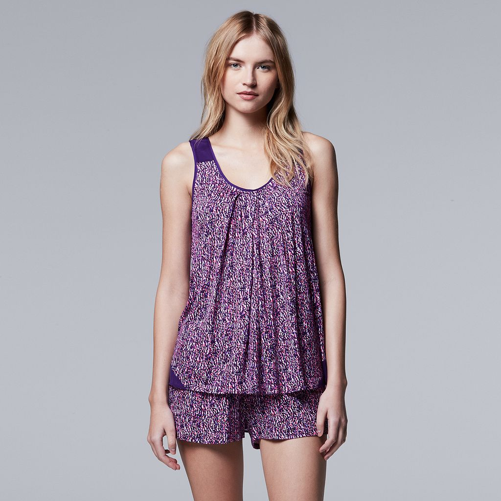 Women's Simply Vera Vera Wang Pajamas: Spring Petals Tank & Boxer Shorts PJ Set