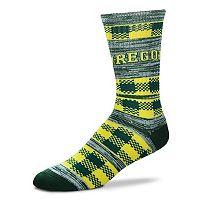 Adult For Bare Feet Oregon Ducks Double Plaid Crew Socks