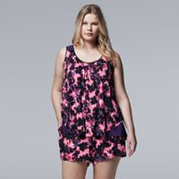 Plus Size Simply Vera Vera Wang Pajamas: Spring Petals Tank & Boxer Shorts PJ Set