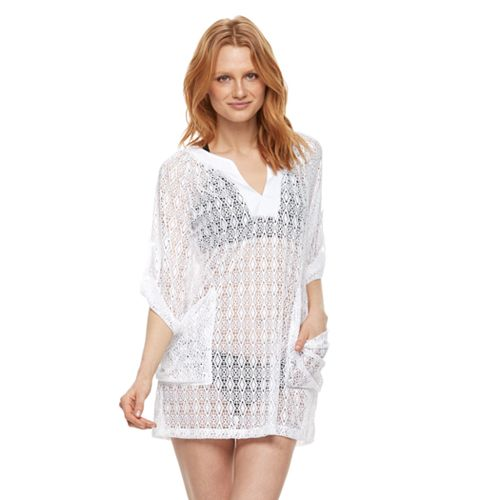 Women's Beach Scene Hooded Lace Cover-Up