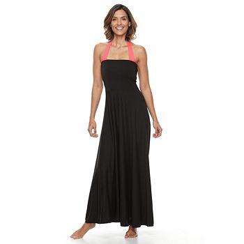 Womens Beach Scene Convertible Maxi Dress Cover Up