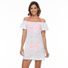 Women's Beach Scene Off-the-Shoulder Jacquard Cover-Up