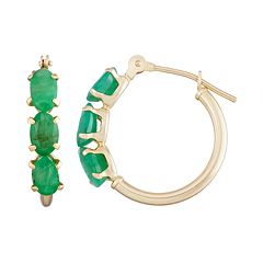 10k Gold Emerald Tube Hoop Earrings