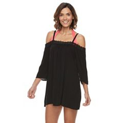 Women's Beach Scene Off-the-Shoulder Cover-Up