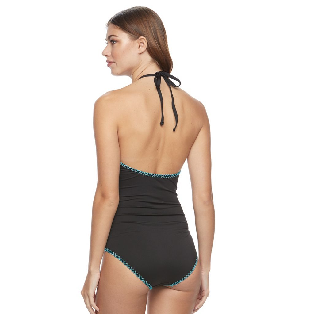 Women's Apt. 9® High-Neck Embroidered One-Piece Swimsuit