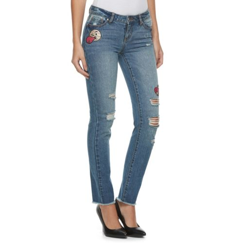 Juniors' Candie's® Patched Ripped Skinny Jeans