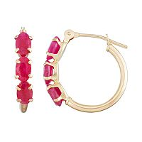 10k Gold Ruby Tube Hoop Earrings