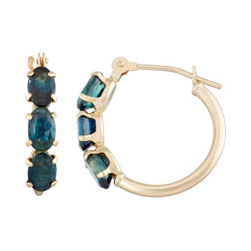 10k Gold Sapphire Tube Hoop Earrings