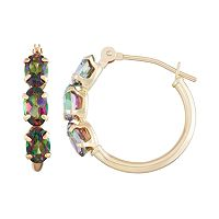 10k Gold Mystic Topaz Tube Hoop Earrings