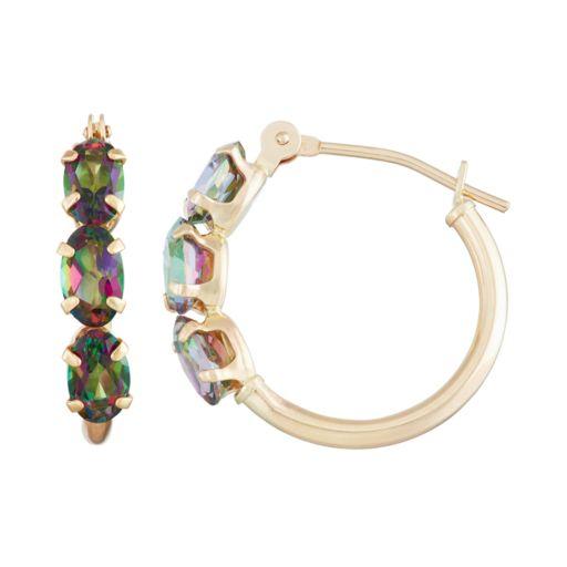 10k Gold Mystic Topaz Tube Hoop Earrings
