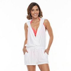 Women's Beach Scene Hooded French Terry Romper Cover-Up