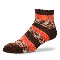 Women's For Bare Feet Cleveland Browns Pro Stripe Slipper Socks