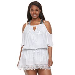 Plus Size Beach Scene Cold-Shoulder Blouson Cover-Up