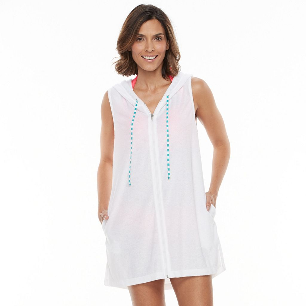 Women's Beach Scene French Terry Vest Cover-Up