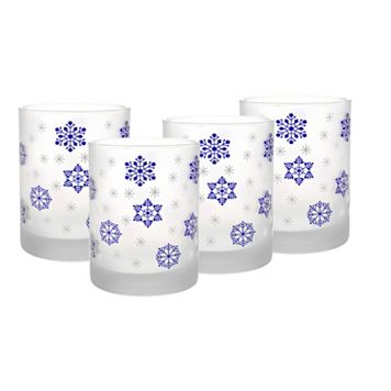Culver Frosted Blue Snowflake 4-pc. Old-Fashioned Glass Set