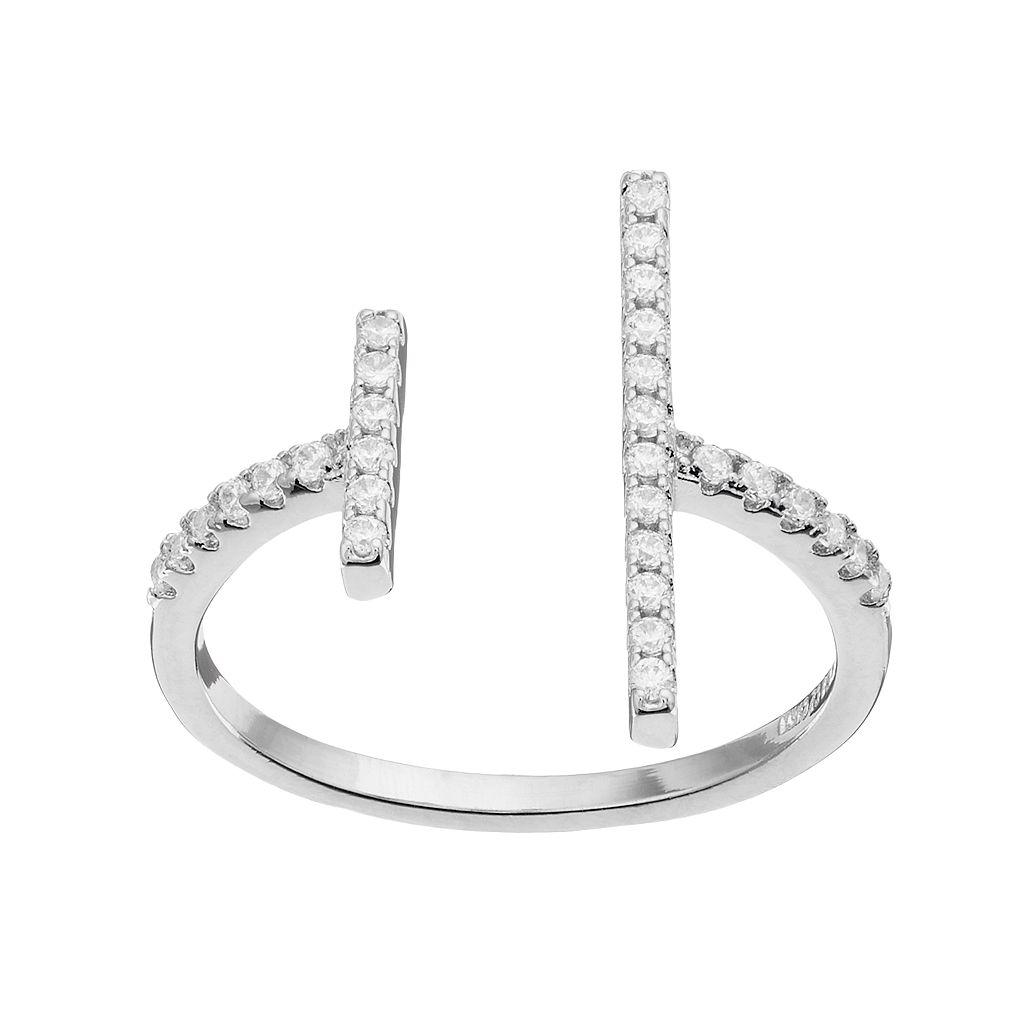 Fleur Silver Tone Cubic Zirconia Double Bar Open Ring