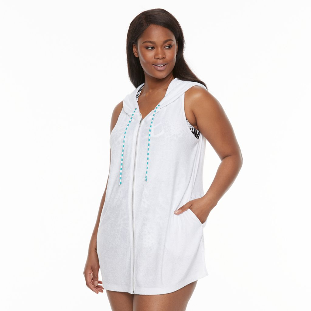 Plus Size Beach Scene French Terry Vest Cover-Up