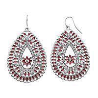 Red Openwork Teardrop Earrings