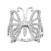 Fleur Silver Tone Cubic Zirconia Butterfly Ring