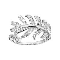 Fleur Silver Tone Cubic Zirconia Feather Ring