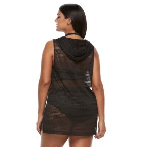 Plus Size Beach Scene Hooded Vest Cover-Up
