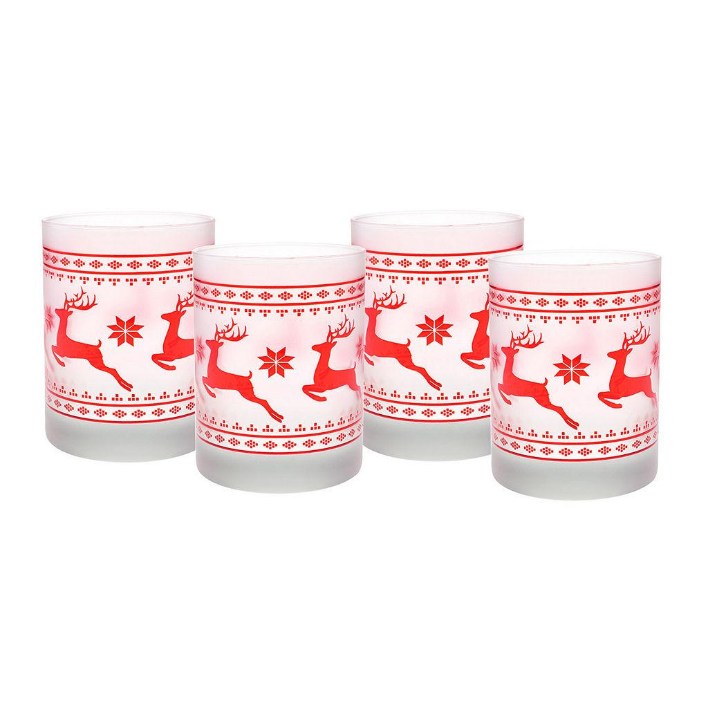 Culver Frosted Red Sweater 4-pc. Double Old-Fashioned Glass Set