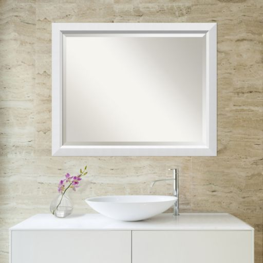 Amanti Art Blanco White Large Wall Mirror