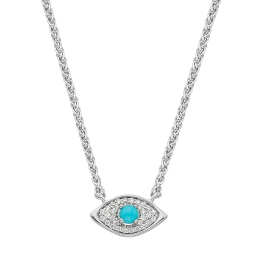 Sterling Silver 1/10 Carat T.W. Diamond & Turquoise Evil Eye Necklace