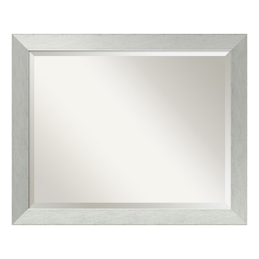 Amanti Art Brushed Sterling Silver Finish Large Wall Mirror