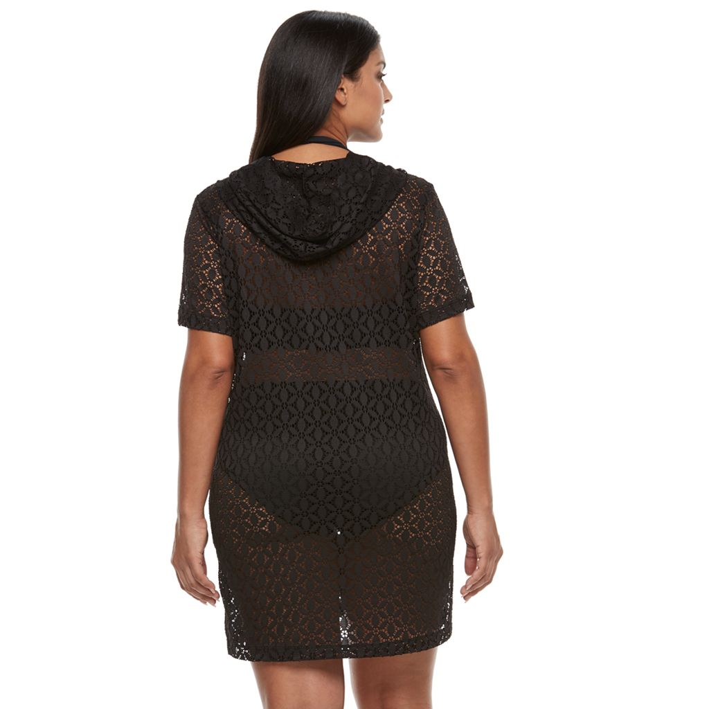 Plus Size Beach Scene Lace Cover-Up