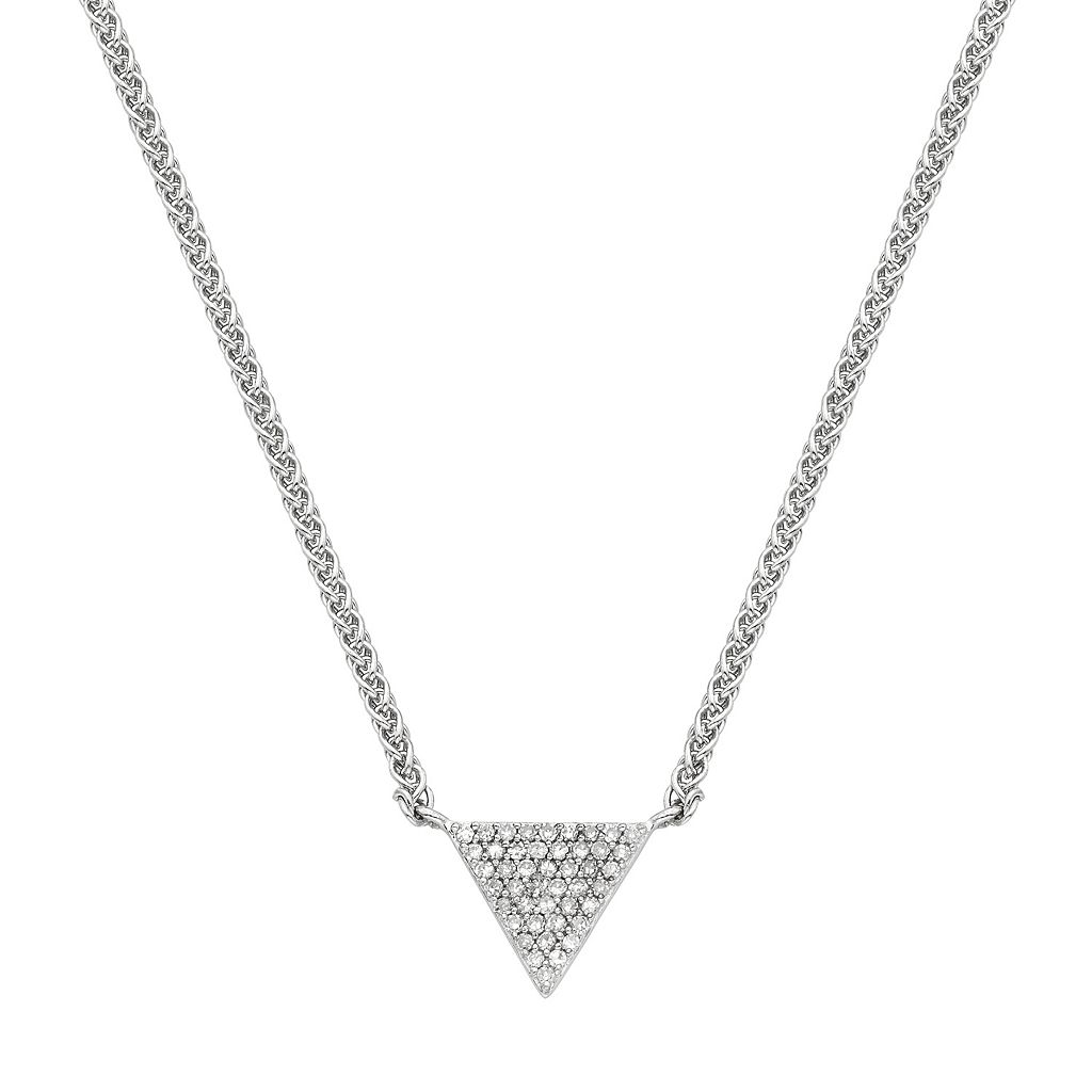 Sterling Silver 1/8 Carat T.W. Diamond Triangle Necklace