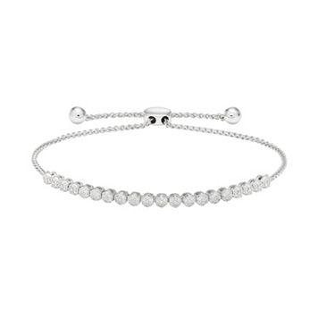 Sterling Silver 1/4 Carat T.W. Diamond Cluster Bolo Bracelet