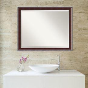 Amanti Art Country Walnut Finish Large Wall Mirror