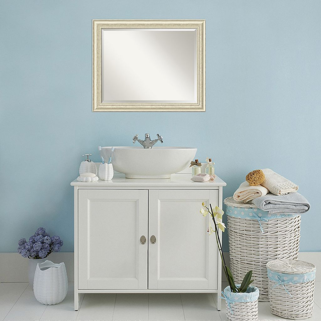 Amanti Art Country Whitewash Large Wall Mirror
