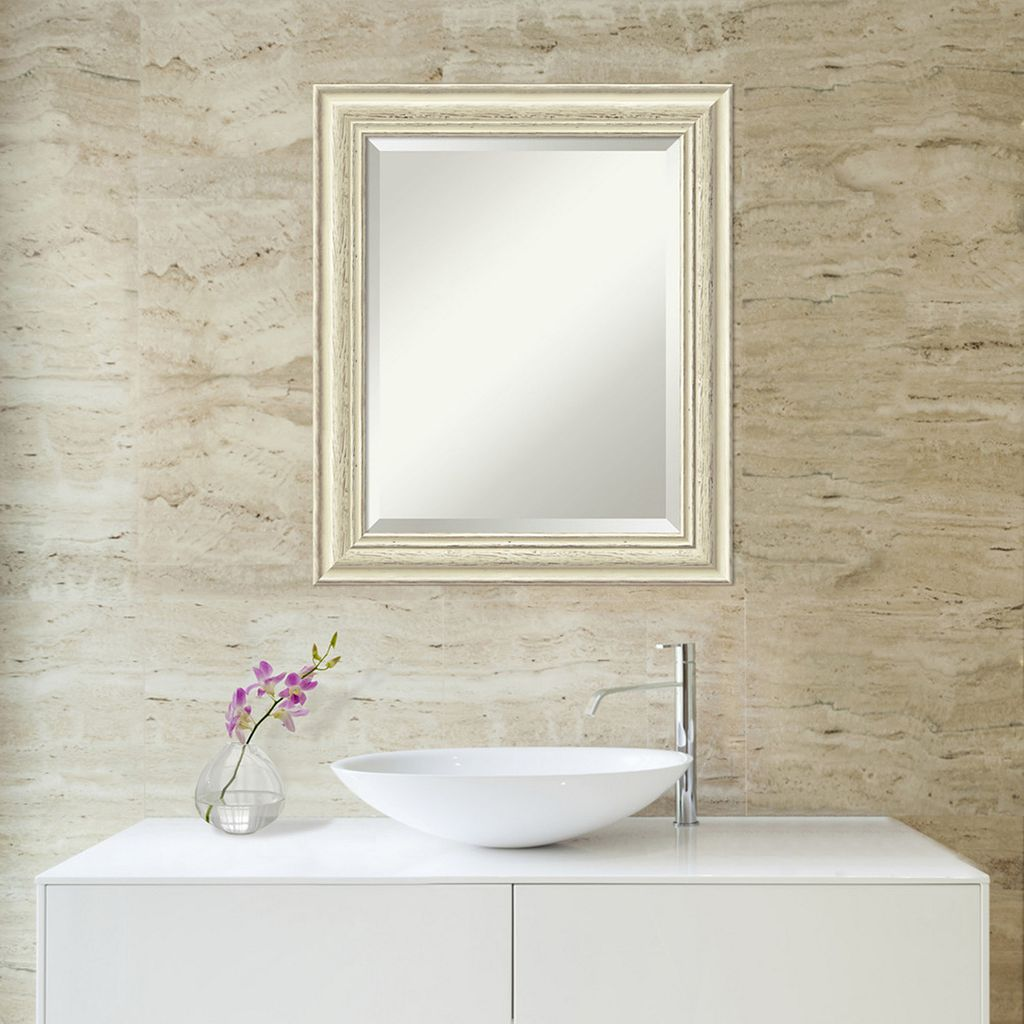 Amanti Art Country Whitewash Medium Wall Mirror