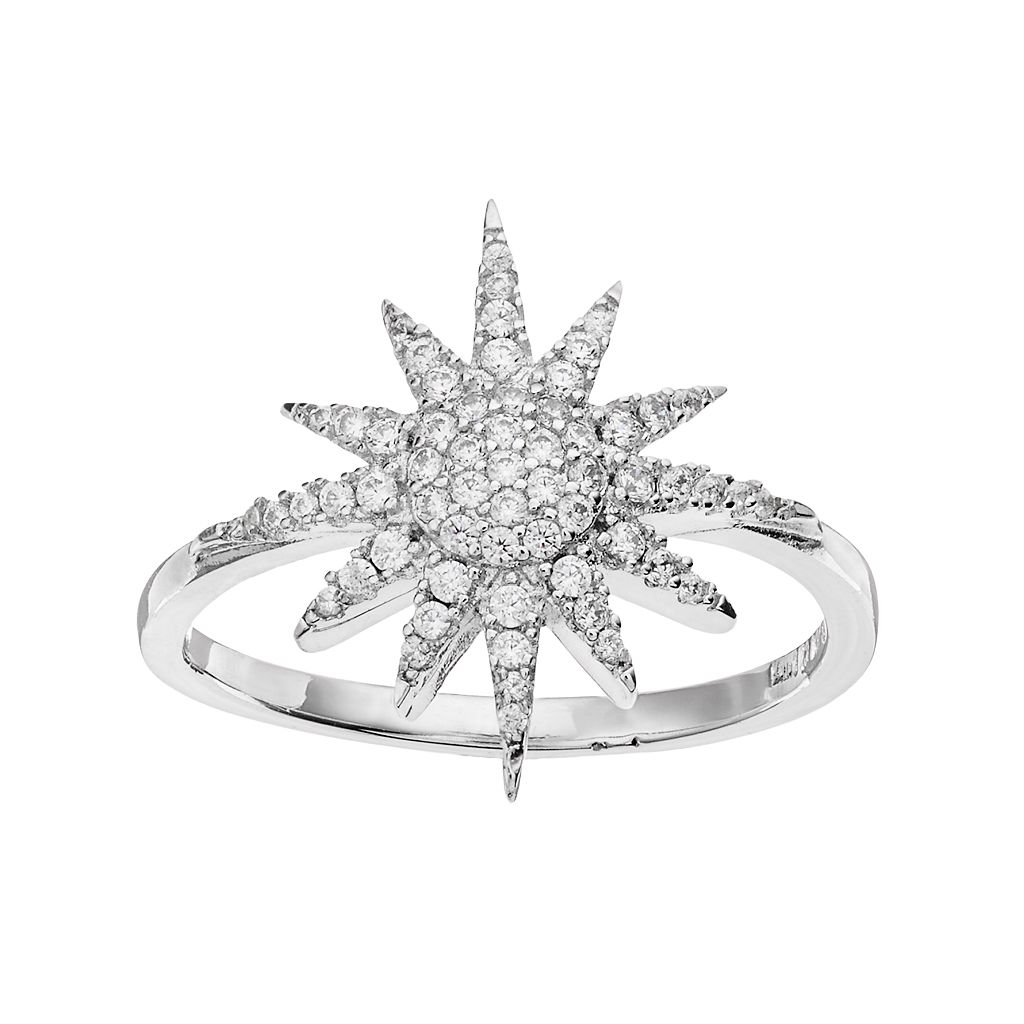 Fleur Silver Tone Cubic Zirconia Starburst Ring