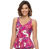 Women's Beach Scene Peplum Tankini Top