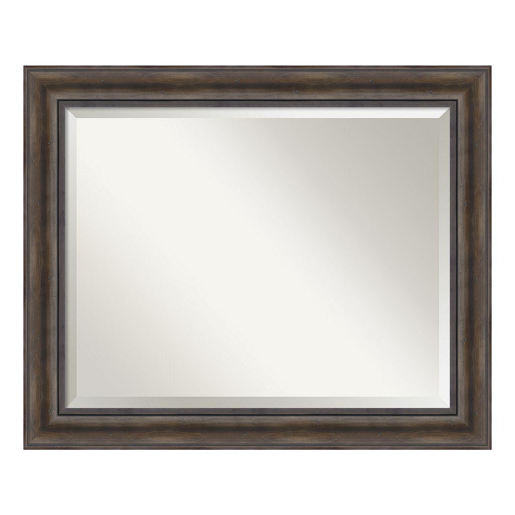 Amanti Art Rustic Pine Finish Large Wall Mirror