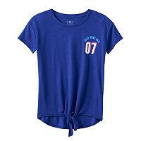 Girls 7-16 SO® Tie Front Graphic Tee