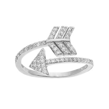 Fleur Silver Tone Cubic Zirconia Arrow Ring