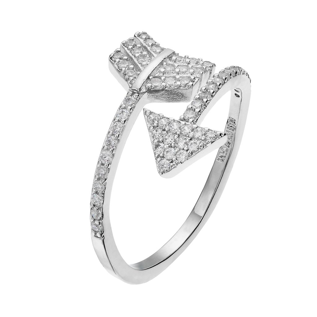 Fleur Silver Tone Cubic Zirconia Arrow Ring