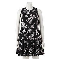 Juniors' Plus Size SO® Textured Floral Skater Dress