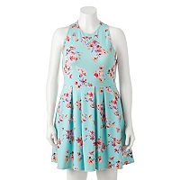 Juniors' Plus Size SO® Textured Floral Skater Dress