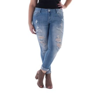 Juniors' Plus Size Amethyst Ripped Crop Skinny Jeans