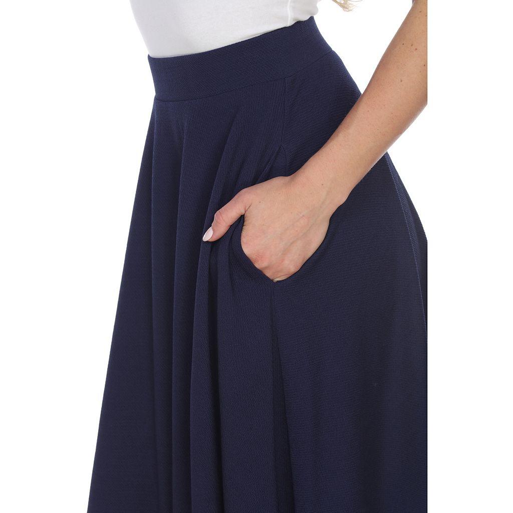 Women's White Mark Solid Midi Skirt