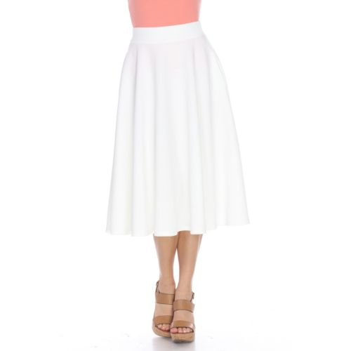 Women's White Mark Solid Midi Skirt