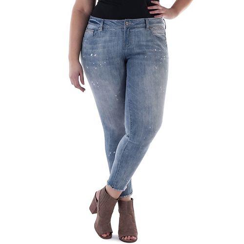 Juniors' Plus Size Amethyst Cutoff Ankle Skinny Jeans